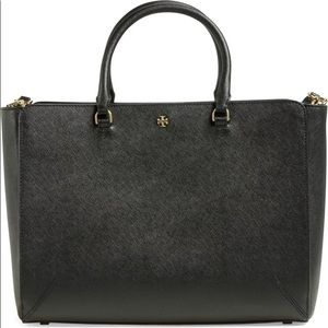 Tory Burch Robinson Large Double ZIP tote BLK